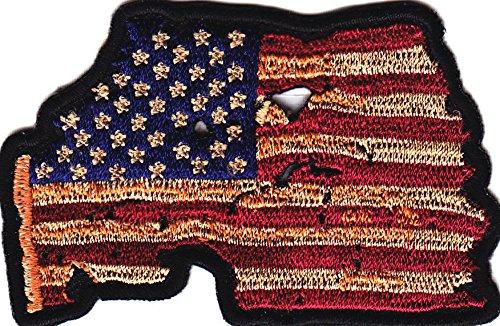 Vintage Look American Flag  Usa Pride Biker Vest  Cap Patriotic Iron On Patch