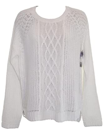 White Button Back Cable Knit Jumper Sweater 10 To Plus Size 24 18