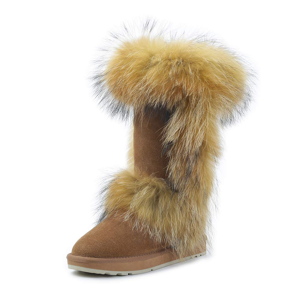 Chestnut INOE Women Boots Real Fox Fur Cow Suede Leather Winter Snow Boots Women Winter shoes Knee-high Boots
