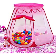 MAIKEHIGH Children Castle Playhouse Play Tent Ball Pit Hexagonal Foldable House Tents For Kids, Indoor & Outdoor Use, conveniently folds in to a Carrying Case (Ball Not Included)(Pink)