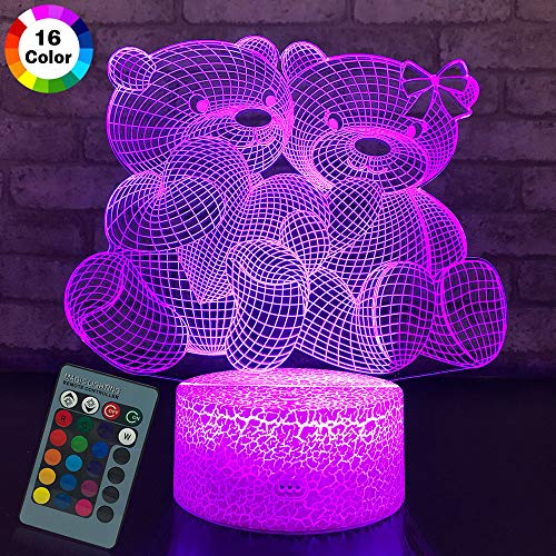 JMLLYCO Teddy Bear Gifts Bear Night Light 3D lamp 16 Colors Change with Remote Control Beside Lamps As a Gift Ideas for Women and Girls (Panda Bear Lamp)