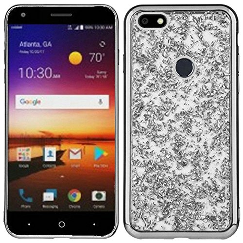 SOGA Cover Compatible for ZTE Blade X Z965 Case, (Cricket) [Frozen Glitter TPU] Electroplated Shine Thin Soft Gel Case Flexible Cover for ZTE Blade X Z965 - Silver