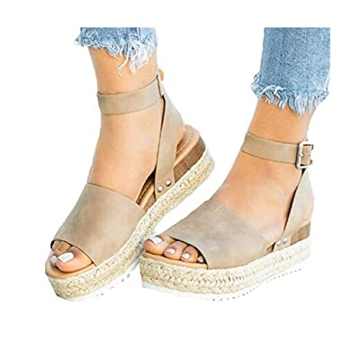 Shakumy Women Casual Espadrilles Trim Flatform Studded Wedge Sandals Summer Open Toe Ankle Strap Platform Sandals Shoes at Women's Clothing store