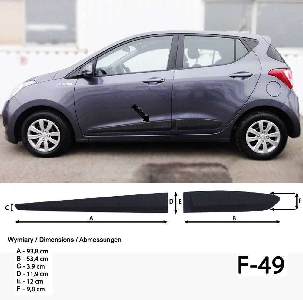 F49 Spangenberg Seitenschutzleisten schwarz f/ür Hyundai i10 II Schr/ägheck 5-T/ürer ab Baujahr 11.2013 370004901