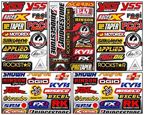 (Motocross Dirt Bike Helmet Racing Tuning Decal Kit Sticker 5 Sheets #Db-506)