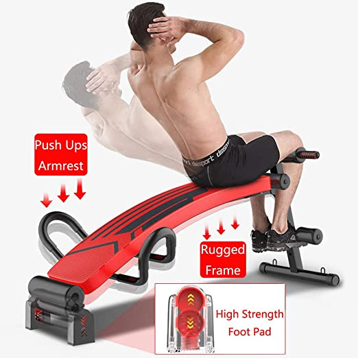 Wider Backrest//Seat Dumbbells Supine Board Push Ups Strength Abdominal Training of Indoor Sports Activities 500LB Adjustable Weight Sit Up Bench with 2 Resistance Band Push-up Armrests Tensioners