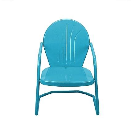 LB International 34u0026quot; Turquoise Blue Retro Metal Outdoor Tulip Chair