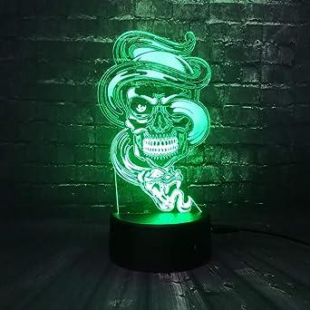 Violento Cráneo Envuelto En Serpiente 3D Lámpara De Escritorio ...