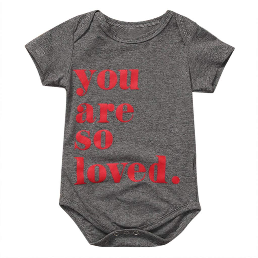 Lavany Baby Clothes Boys Girls Short Sleeve Romper Letters Print Jumpsuit Outfits Gray