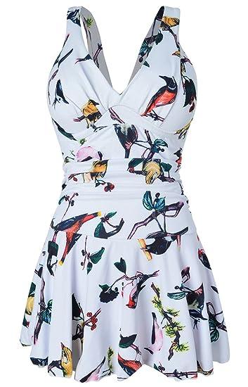 930195a52486 Hungo Damen Badekleid Einteiler mit Röckchen Badeanzug Figurformend Bademode
