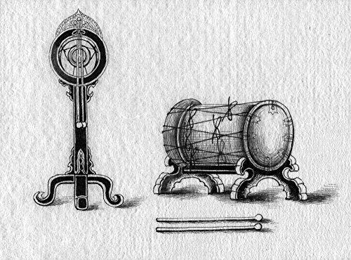 - Japanese Instruments Njapanese Tsuri-Daiko (Hanging Drum) And Taiko (Drum) Ink Drawing Japanese 1878 Poster Print by (24 x 36)