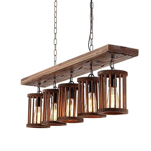 Wood Chandelier Industrial Pendant Light Rustic Edison ...