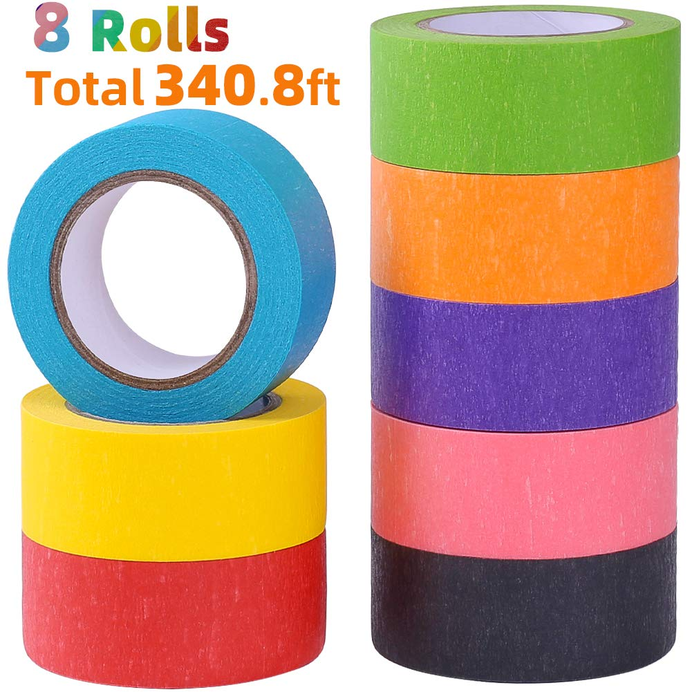 8 Rolls 1 Inch Wide x 14.2Yards Long Colored Masking Tape Rainbow Colors Painters Tape Colorful Craft Art Paper Tape for Kids Labeling Arts Crafts DIY Decorative Coding Decoration Teaching Supplies