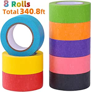 Colored Masking Tape, Rainbow Colors Painters Tape Colorful Craft Art Paper Tape for kids Labeling Arts Crafts DIY Decorative Coding Decoration Teaching Supplies, 8 Rolls, 1 Inch Wide x 14.2Yards Long