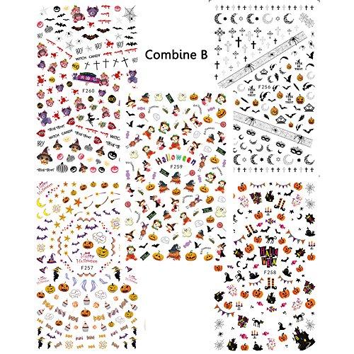 Halloween Pumpkin Nail Decoration 5 Sheets Water Slide Nail Art Decals Stickers Set Salon Quality (Combine B) (New Halloween Nail Art)