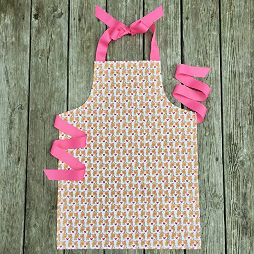Handmade Holiday Reindeer Girls Apron Gift for Art Crafts or Kitchen from Sara Sews