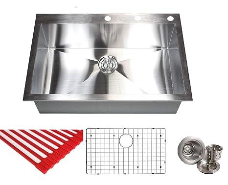 33 Inch Zero Radius Design 16 Gauge Topmount Drop In Over the Counter Large  Single Bowl Stainless Steel Kitchen Sink Premium Package