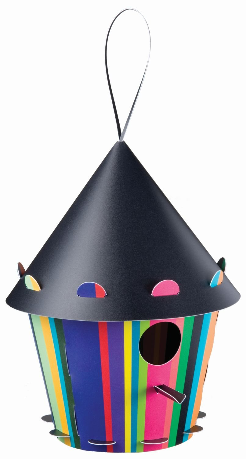 D2F Group Ltd Tweet Tweet Home Recyclable Plastic Flatpacked Cone Bird House - Multi-Coloured Stripes TT24
