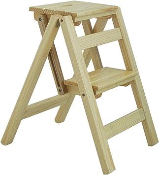 Taburetes de escalera de dos pisos, escaleras plegables antideslizantes de madera para el hogar, taburete multifuncional, taburete creativo de escalera de cocina, (Color : A): Amazon.es: Bricolaje y herramientas