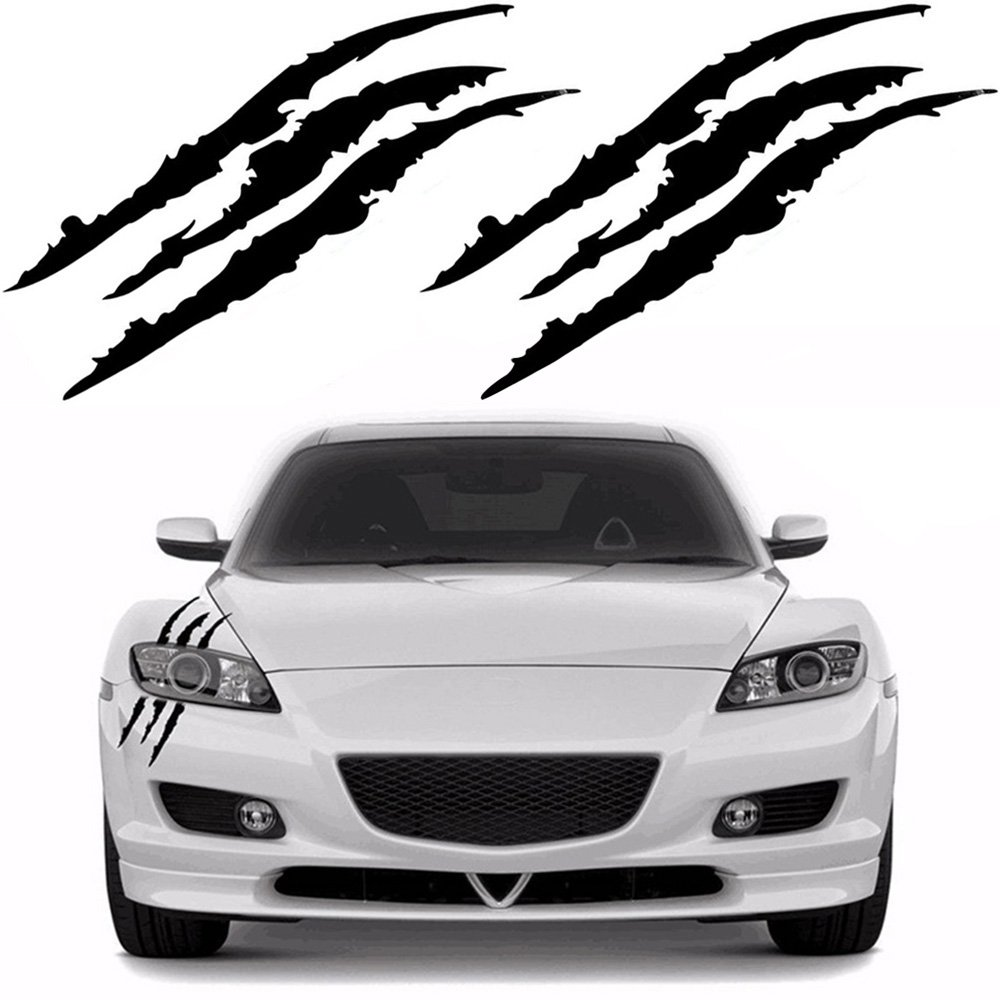 Amazon com ygmoner 2pcs claw marks decal reflective sticker for car headlamp black automotive