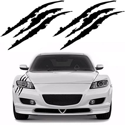 Ygmoner 2pcs claw marks decal reflective sticker for car headlamp black
