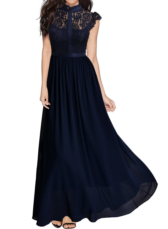 Miusol Women's Formal Floral Lace Cap Sleeve Evening Party Maxi Dress,Navy Blue,X-Large