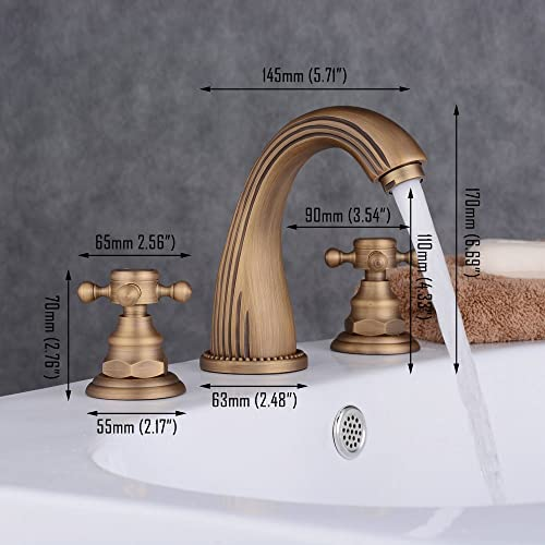 Beelee Three-hole Bathroom Faucet with Two Handles in Antique Brass Deck Mounted Widespread Bathroom Sink Faucet BL3008-3A