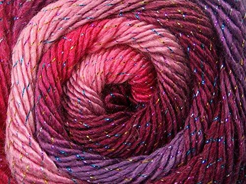 (1) 100 Gram Primadonna Glitz Bouquet Self-Striping Metallic Accent Yarn, Fine/Sport Weight, Pinks, Purples, Sparkly