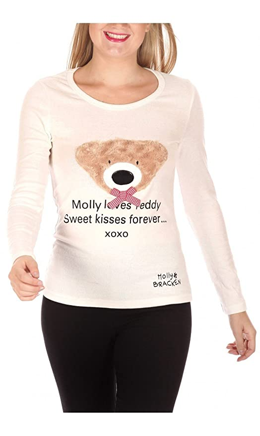 MOLLY BRACKEN - Camiseta de Manga Larga - para Mujer Mehrfarbig - Multicoloured - Off-White: Amazon.es: Ropa y accesorios
