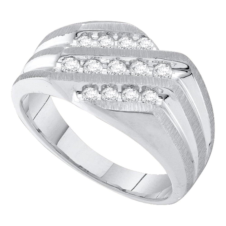 10kt White Gold Mens Round Diamond Band Ring 1/2 Cttw