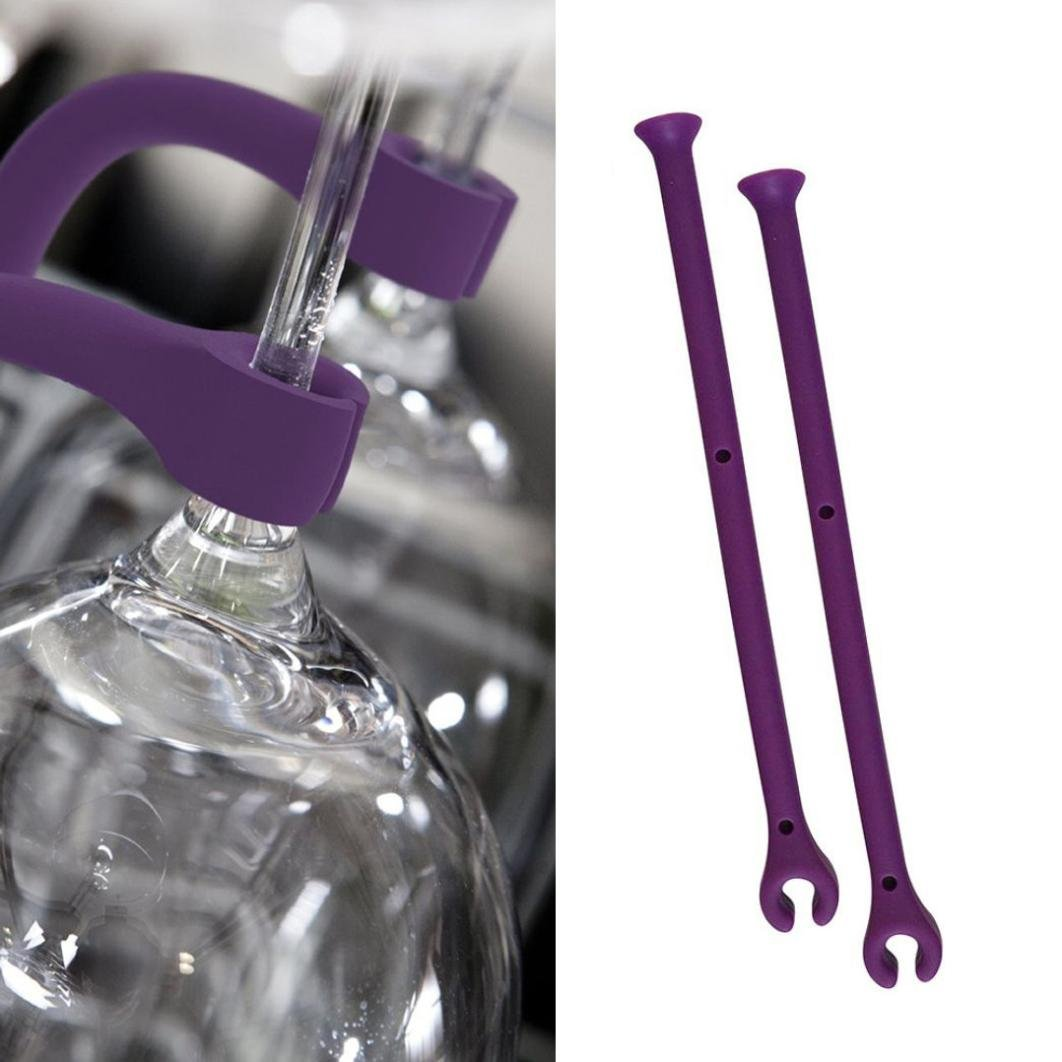 2Pcs Goblet Holder - Adjust Silicone Wine Glass Dishwasher Goblet Holder Safer Stemware Saver - Cabinet Display Hanging Shelf Stemware Racks Wine Glass Holder,Goblet Rack