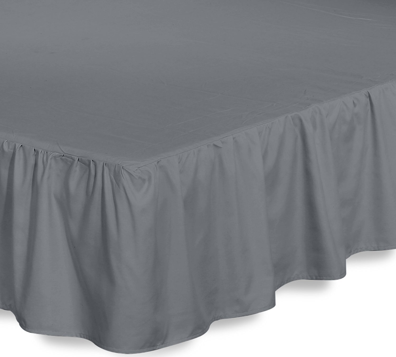 Bed Ruffle Skirt (Queen, Grey) Brushed Microfiber Bed Wrap with Platform