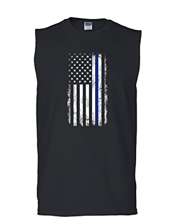 434c034a71058c Tee Hunt Thin Blue Line American Flag Muscle Shirt Stars and Stripes Police  Sleeveless at Amazon Men s Clothing store