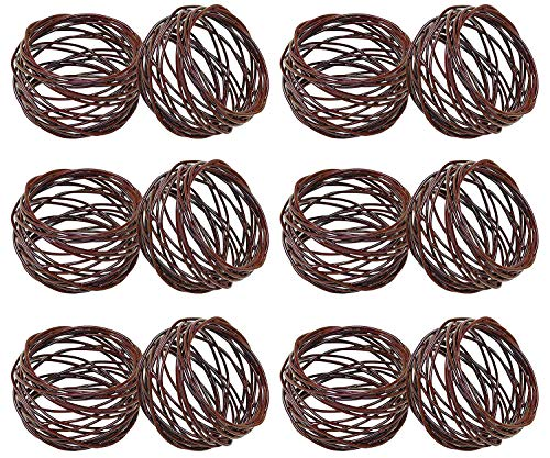 SKAVIJ Metal Mesh Napkin Rings Set for Dining Table Decoration (Dia-2 Inch, Pack of 12, Brown)
