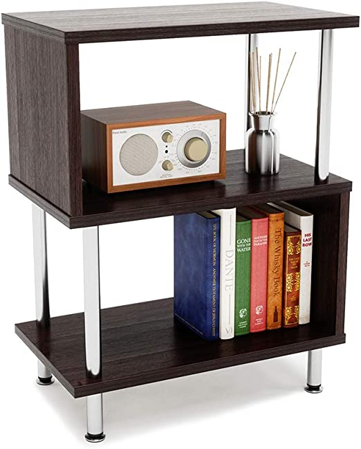 Black End Table Nightstand Bedside Side Storage Shelves Small Unit Easy Assembly