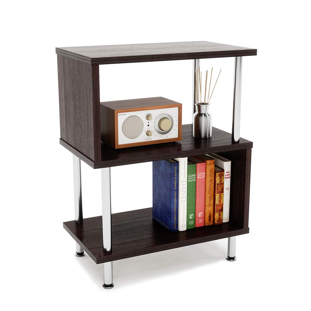 Bestier Side Table 3 Tier S-Shaped, Small Nightstand Bedside Table End Table with Storage Shelves for Bedroom, Sofa Table Coffee Table, Modern Design, Easy Assemble and Sturdy by Bestier