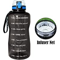 QuiFit Half Gallon Sport Water Bottle with Time Marker, Locking Flip-Flop Lid,Large Capacity(64/43/15 oz) Outdoors Tritan Sport Water Jug,Non-Toxic BPA Free & Eco-Friendly