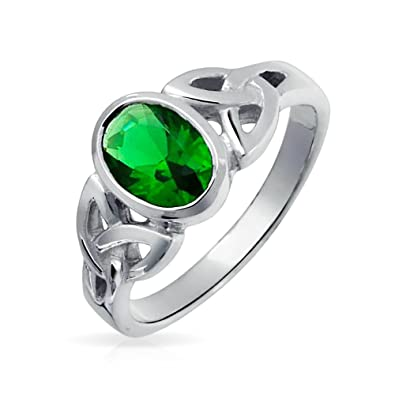 Bling Jewelry Simulated Emerald Glass Celtic Knot Triquetra Sterling Silver Ring CApOrv4AQp