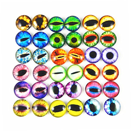 Mixed Style Dragon Eyes Round time gem cover Glass Cabochon Dome Jewelry Finding Cameo Pendant Settings (15MM)