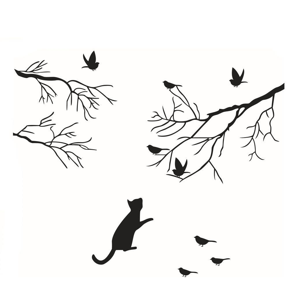 Fangeplus(R)DIY Removable Birds Flying Tree Branches Cat Love Birds Glass Window Art Mural Vinyl Waterproof Wall Stickers Kids Room Decor Nursery Decal Sticker Wallpaper21''x22.8''