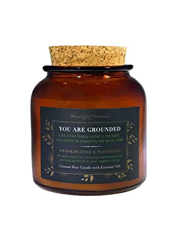 MEANINGFUL MANTRAS Frankincense & Patchouli | Luxury Essential Oil Coconut  Wax Recycled Glass Jar Candle | Hand Poured in The USA Aromatherapy & Great