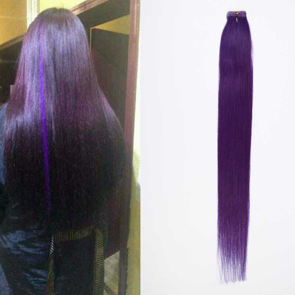 DSOAR 6A Brazilian Skin Weft Tape In PU Hair Extension 1.5g/pc,10pcs/lot,60cm/24inch,Purple Color,Can be Restyled