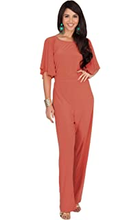 ad55dc96999 KOH KOH Womens Short Sleeve Wide Leg Long Pant Suit Jumpsuit One Piece  Romper