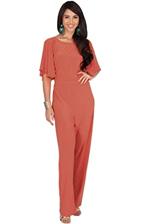 62fa1979ef19 Amazon.com  KOH KOH Womens Short Sleeve Wide Leg Long Pant Suit Jumpsuit  One Piece Romper  Clothing