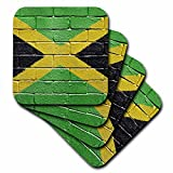 3dRose cst_156913_3 National Flag of Jamaica Painted onto a Brick Wall Jamaican Ceramic Tile Coasters, Set of 4