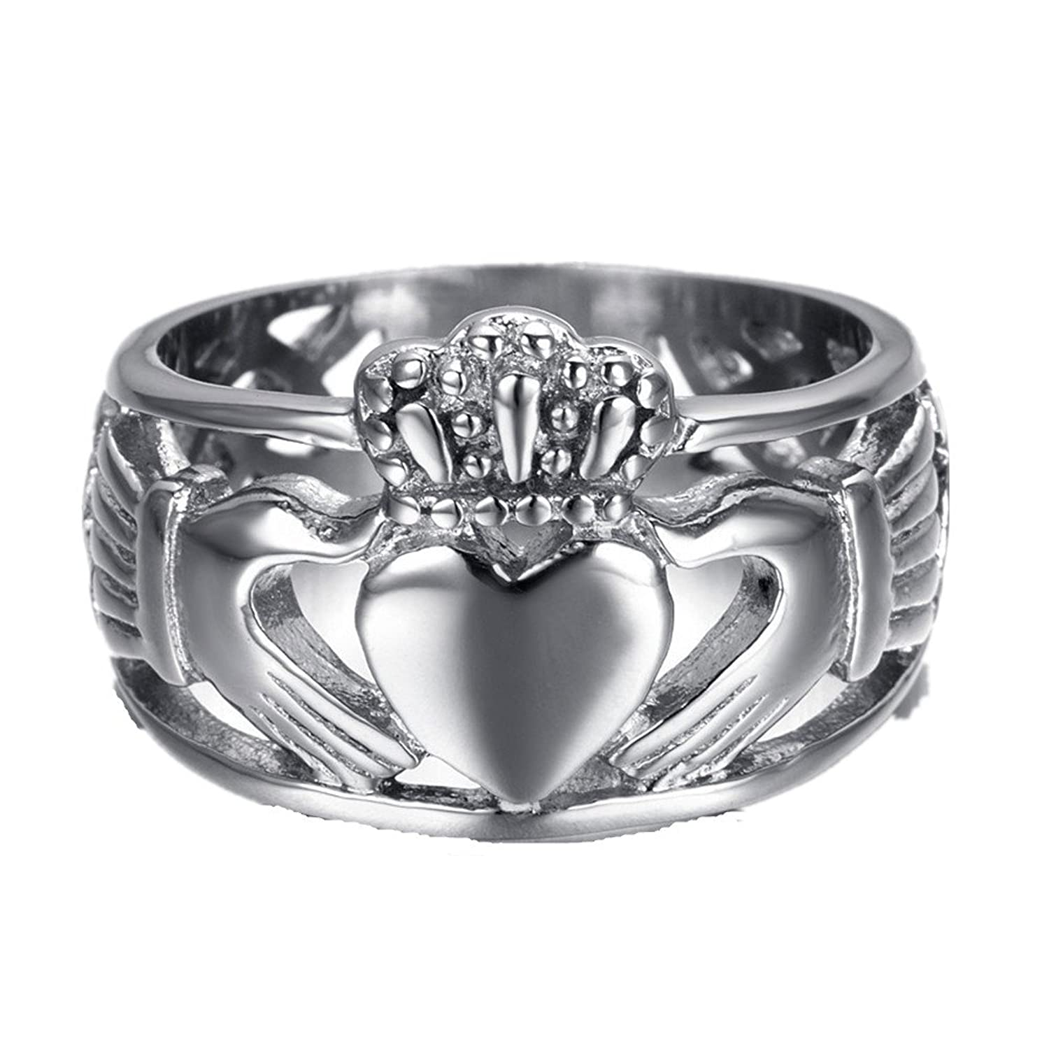 HAMANY Jewelry Mens Stainless Steel Claddagh Ring With Celtic Knot Eternity Design