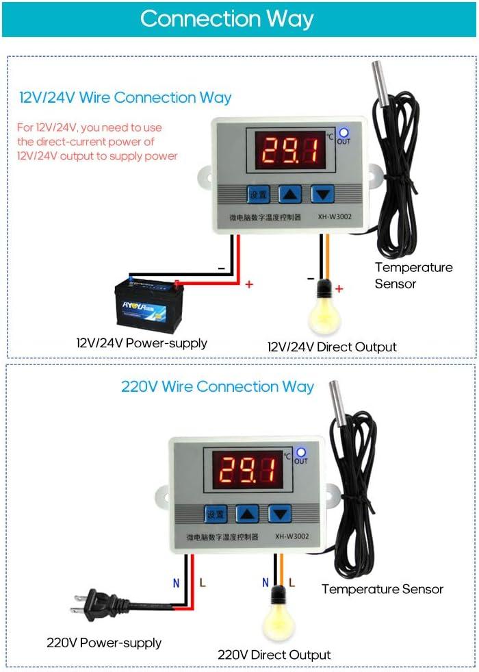 Xh-W3002 Intelligenter Led-Digital-Mikrocomputer-Temperaturregler Mini-Thermostatschalter Mit Wasserdichter Sensorsonde Baugger Digitaler Temperaturregler