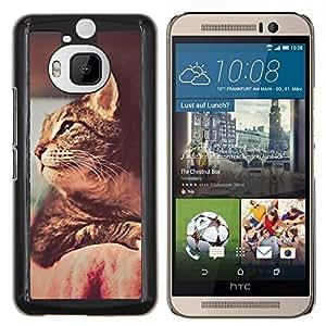 Actitud del gato- Metal de aluminio y de plástico duro Caja del teléfono - Negro - HTC One M9+ / M9 Plus (Not M9)