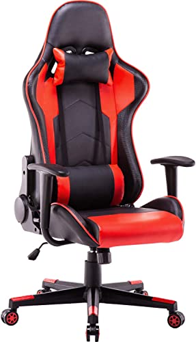 Polar Aurora Gaming Chair Racing Style High-Back PU Leather Office Chair Computer Desk Chair Executive Ergonomic Style Swivel Chair Headrest Lumbar Support Red