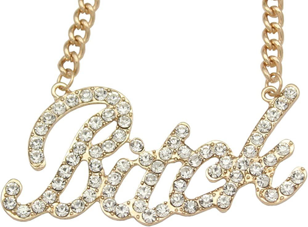 """Celebrity Urban Gold Bling Bitch Word Crystal Pave Chunky Chain Necklace,20"""""""